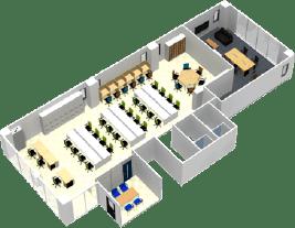 東京都港区のオフィス家具コーディネート 3Dレイアウトデザイン(中規模オフィス)