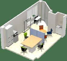 東京都港区のオフィス家具コーディネート 3Dレイアウトデザイン(小規模オフィス①)