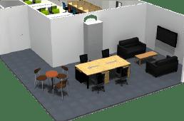 東京都港区のオフィス家具コーディネート 3Dレイアウトデザイン(小規模オフィス②)