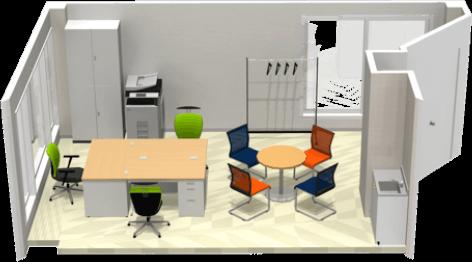 東京都港区のオフィス家具コーディネート ①小規模事務所(10坪 3名)