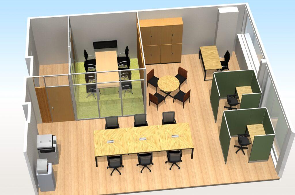 東京都渋谷区 床貼り替え、パーテーション、オフィス家具(従業員6名)