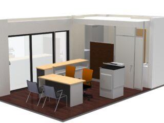 神奈川県川崎市 パーテーション、オフィス家具、ネットワーク工事(従業員2名)