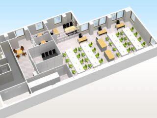 東京都港区 床貼り替え、パーテーション、オフィス家具(従業員35名)
